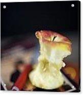 Half Eaten Apple On Books Acrylic Print