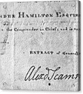 Hamilton: Appointment, 1777 Acrylic Print