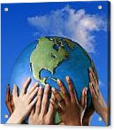 Hands On A Globe Acrylic Print by Don Hammond