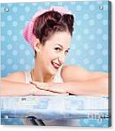 Happy 60s Pinup Housewife On Blue Ironing Board Acrylic Print