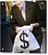 Happy Business Man Smiling With Money Bag Acrylic Print