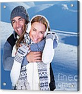 Happy Couple Playing Outdoor At Winter Mountains Acrylic Print
