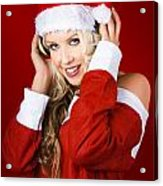 Happy Dj Christmas Girl Listening To Xmas Music Acrylic Print