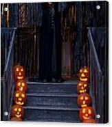 Haunted House With Lit Pumpkins And Demon Acrylic Print