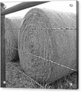 Hay Bales - Black And White Photography Acrylic Print