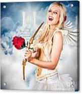 Heavenly Angel Of Love With Flower Arrow Acrylic Print