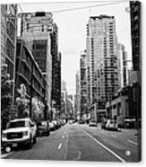 high rise apartment condo blocks in the west end west pender street Vancouver BC Canada Acrylic Print