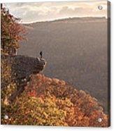 Hiker On Hawksbill Crag In Arkansas Acrylic Print