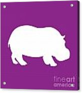 Hippo In Purple And White Acrylic Print