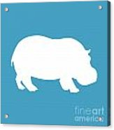 Hippo In White And Turquoise Acrylic Print