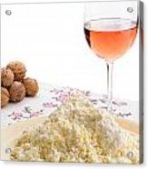 Homemade Cheese Wine And Walnuts Acrylic Print