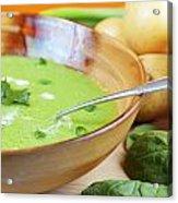 Homemade Potato And Spinach Soup Acrylic Print