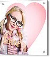 Hopeless Romantic Girl Showing Signs Of Love Acrylic Print