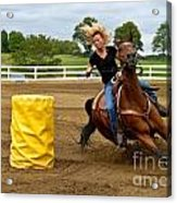 Horse And Rider In Barrel Race Acrylic Print