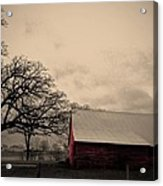 Horse Barn In Red  Acrylic Print by Garren Zanker
