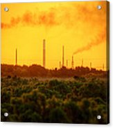 Industrial Chimney Stacks In Natural Landscape Polluting The Air Acrylic Print