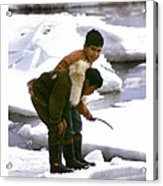 Inuit Boys Ice Fishing Barrow Alaska July 1969 Acrylic Print