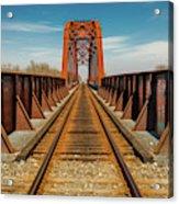 Iron Railroad Bridge Over Water, Texas Acrylic Print