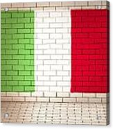 Italy Flag Brick Wall Background Acrylic Print