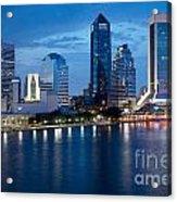 Jacksonville Skyline At Dusk Acrylic Print