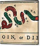 Join Or Die Cartoon 1754 Acrylic Print