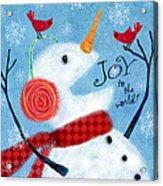 Joyful Snowman Acrylic Print