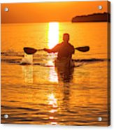 Kayaking At Sunset In The Apostle Acrylic Print