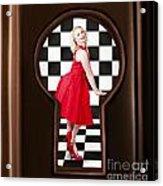 Keyhole Retro Fashion Portrait Of Stylish Girl Acrylic Print