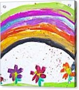 Kid's Drawing With Flowers And Colorful Rainbow Acrylic Print