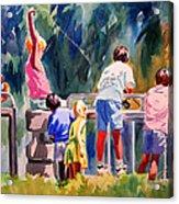 Kids Fishing Acrylic Print