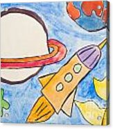 Kid's Painting Of Universe With Planets And Stars Acrylic Print