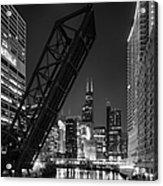 Kinzie Street Railroad Bridge At Night In Black And White Acrylic Print