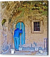 Knocking On A Blue Door Of Tufa Home In Goreme In Cappadocia-turkey  Acrylic Print