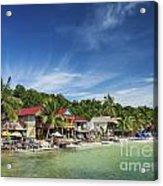 Koh Rong Island Beach Bars In Cambodia Acrylic Print