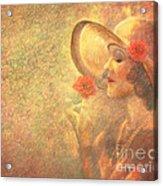 1-lady In The Flower Garden Acrylic Print