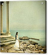 Lady In White By The Sea Acrylic Print