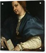 Lady With A Book Of Petrarch's Rhyme Acrylic Print