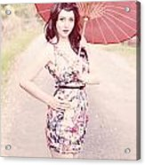 Lady With Red Parasol Acrylic Print