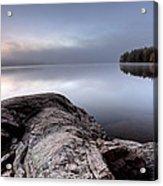 Lake In Autumn Sunrise Reflection Acrylic Print