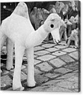 Large Soft Toy Stuffed Camel Souvenir At Market Stall In Nabeul Tunisia Acrylic Print by Joe Fox