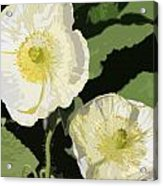Large White Flowers Abstract Acrylic Print