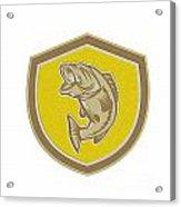 Largemouth Bass Jumping Shield Retro Acrylic Print