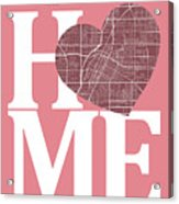 Las Vegas Street Map Home Heart - Las Vegas Nevada Road Map In A Acrylic Print
