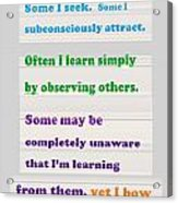 Learning Observation Teacher Student Gratitude Background Designs  And Color Tones N Color Shades Av Acrylic Print