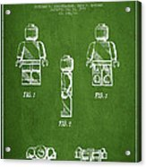 Lego Toy Figure Patent - Green Acrylic Print by Aged Pixel