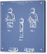 Lego Toy Figure Patent - Light Blue Acrylic Print by Aged Pixel