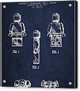 Lego Toy Figure Patent - Navy Blue Acrylic Print by Aged Pixel
