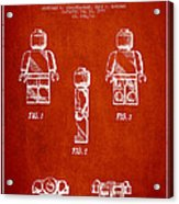 Lego Toy Figure Patent - Red Acrylic Print