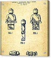 Lego Toy Figure Patent - Vintage Acrylic Print