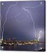 Lightening Over Manhattan Acrylic Print